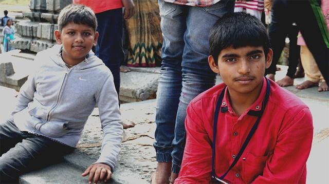 Schoolchildren on a trip to Belur