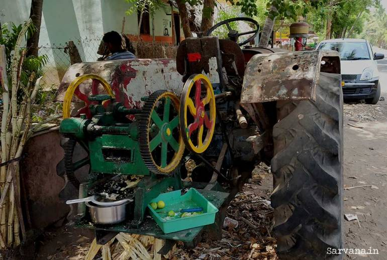Sugarcane crusher mated to old tractor