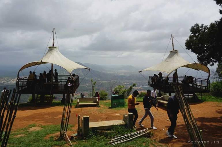 Raised seating arrangements at Nandi Hills
